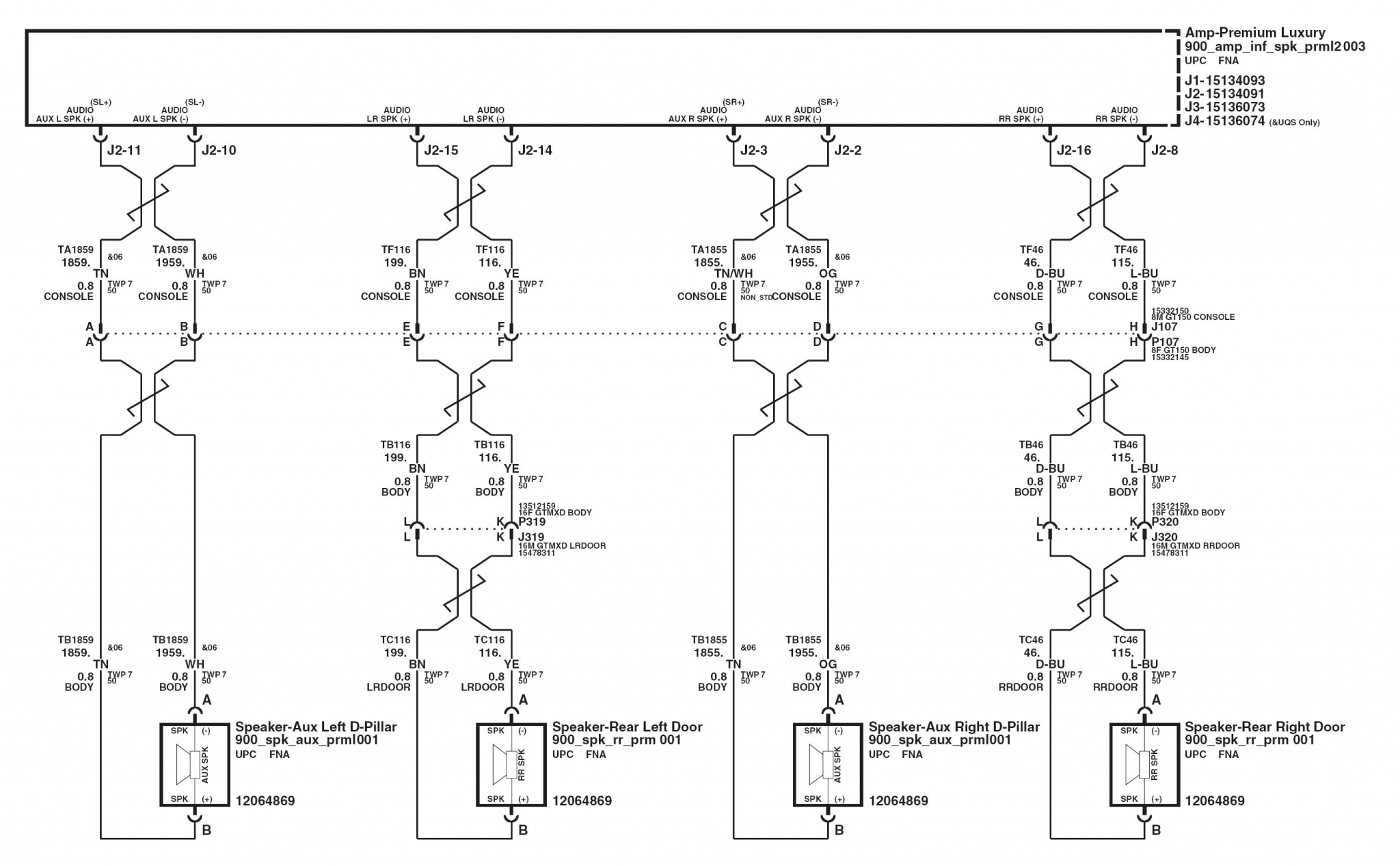 speakers rear premiumLux 2007 radio wiring chart 2007 chevy tahoe radio wiring diagram at panicattacktreatment.co